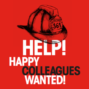 """Text """"Happy Colleagues wanted"""" on red background"""