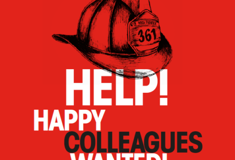 "Text ""Happy Colleagues wanted"" on red background"